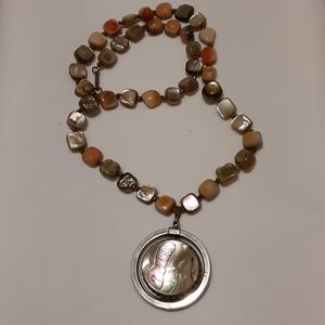 vintage hobo Miriam Haskell abalone mop necklace